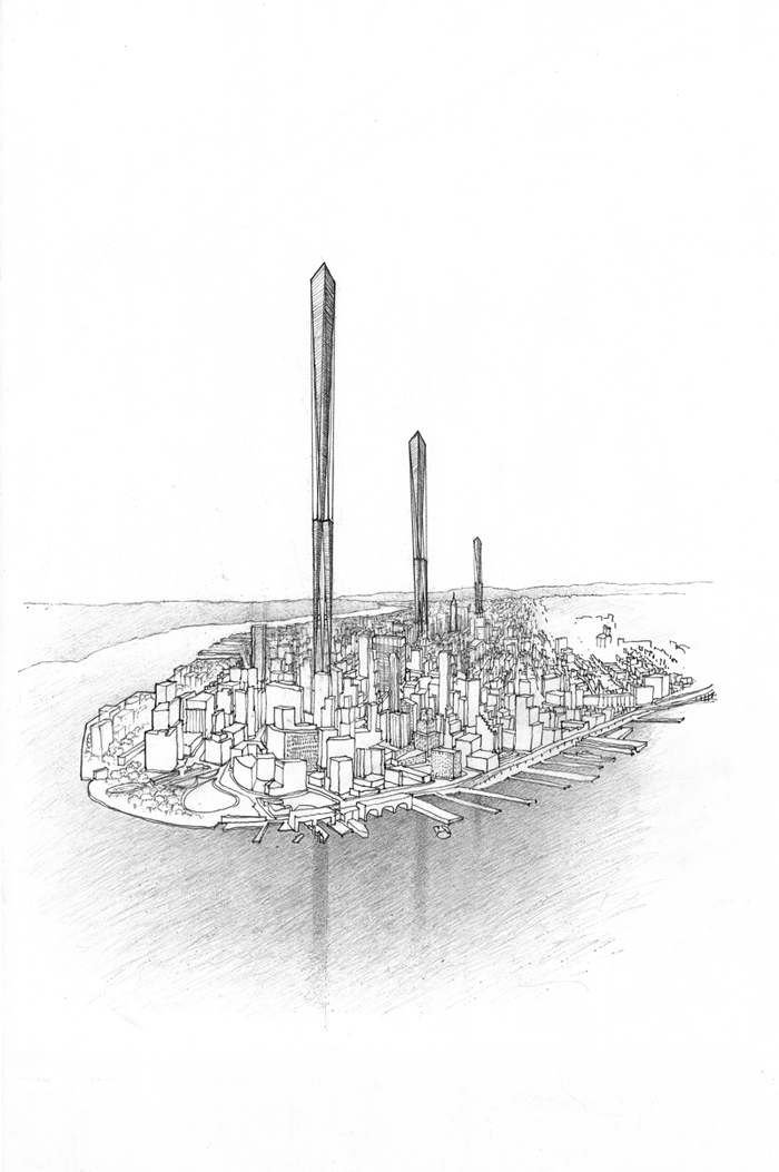 Three skyscrapers each a mile-high on Manhattan Island