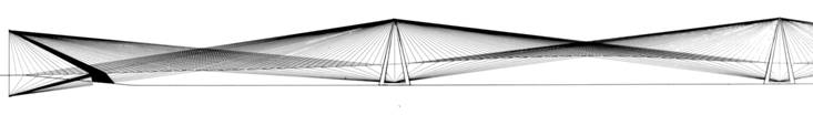 Drawing of a tension bridge of  multiple 3-mile spans